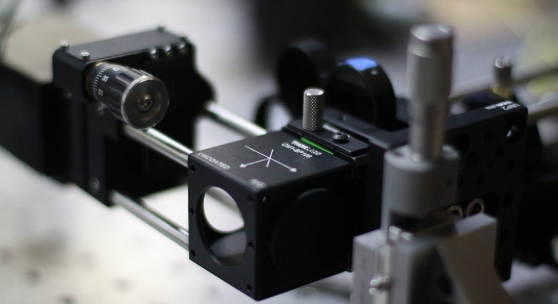 Laser Optics are used to measure the spectra of single molecuels in the Jiang Lab.