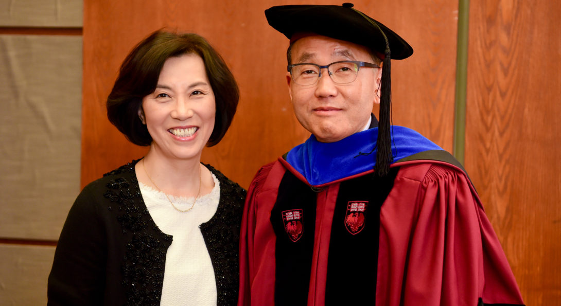 Prof. Cho at the celebration of his endowed Chair in the Natural Sciences.