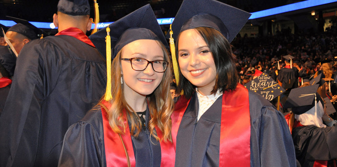 Students celebrate at LAS Commencement on May 13, 2018.