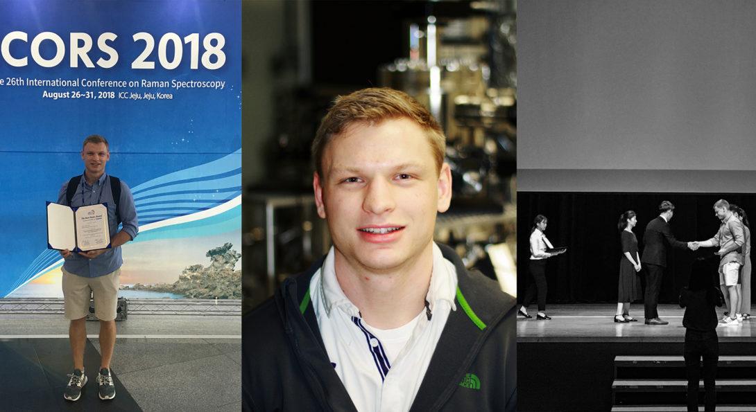 Jeremy Schultz of Jiang's group wins best poster award at the International Raman Spectroscopy Conference in Jeju, Korea