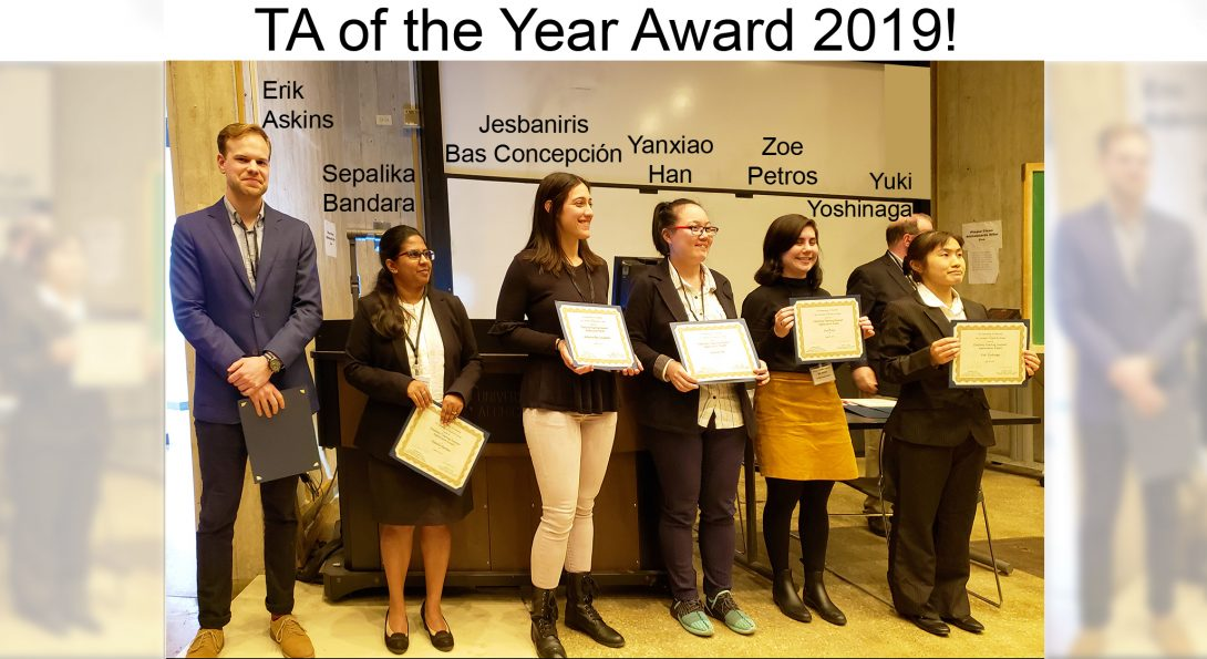 Five graduate students were awarded with the TA of the year award by our dept.