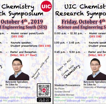 The Annual Chemistry Research Symposium will be held This Friday, Oct 4th, 11 am-5:30 pm.