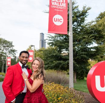 UIC alumnus Dr. Marvin Parasram and alumna Dr. Jenny S. Martinez were engaged Aug. 30