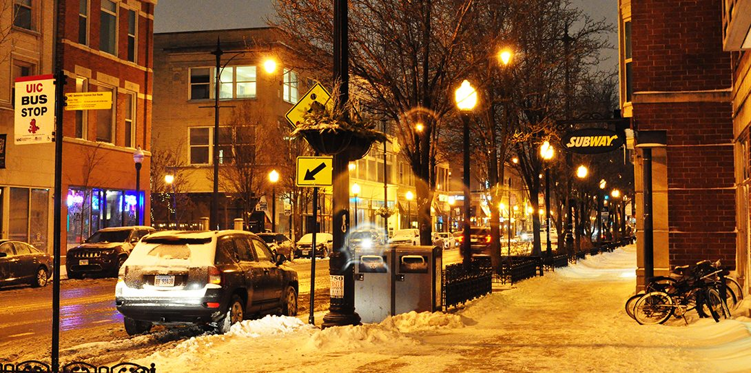 Halstead St. near campus during s snow storm.