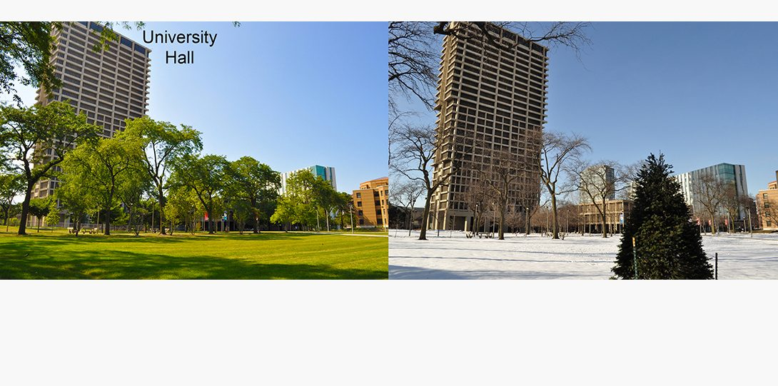 University Hall in the summer and winter.