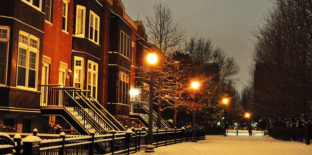 University Village homes appear nice and warm after a snow shower.