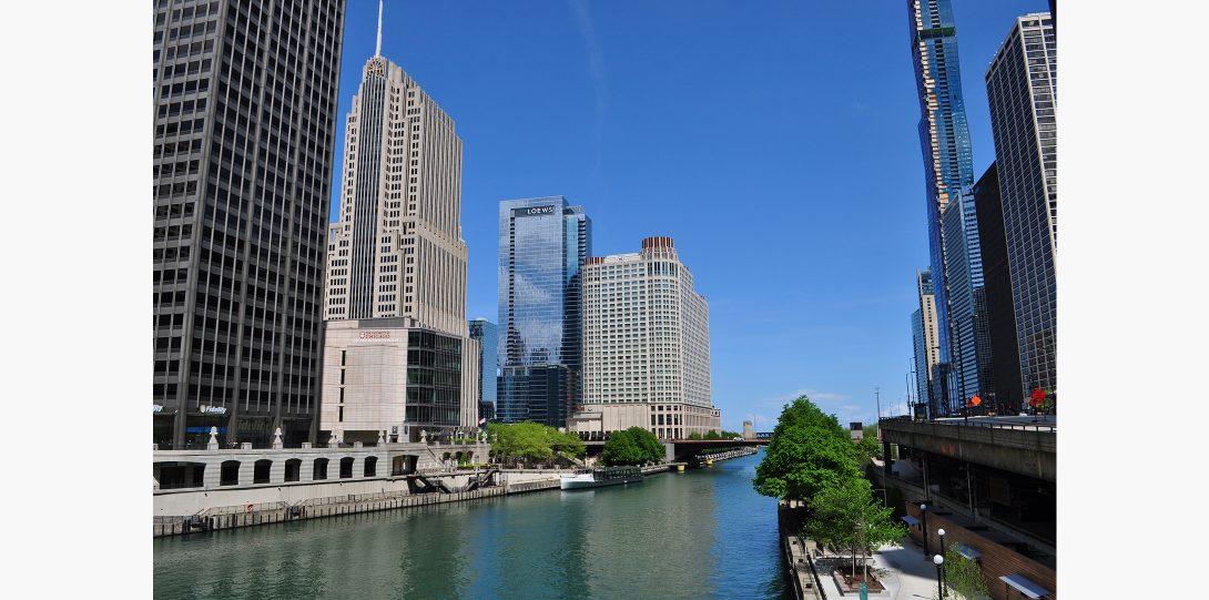 The Chicago river emptys into Lake Michigan.
