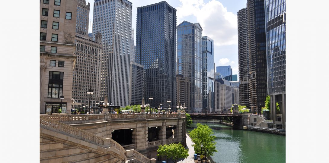 The Chicago river runs straight though the downtown area.