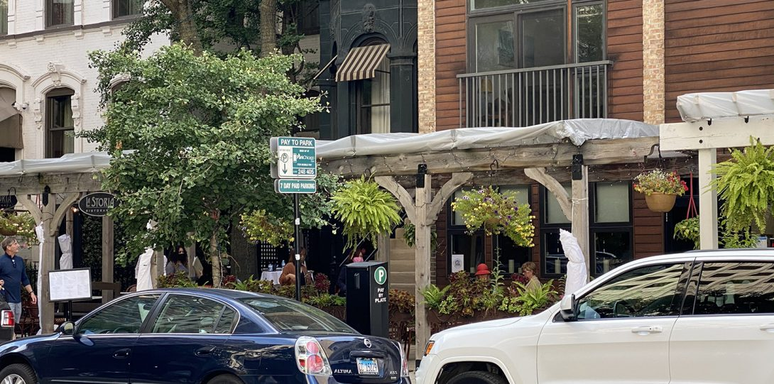 OldTown has restaurants lining the streets.