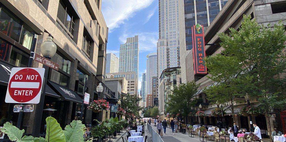 Rush street is vibrant during the weekend.
