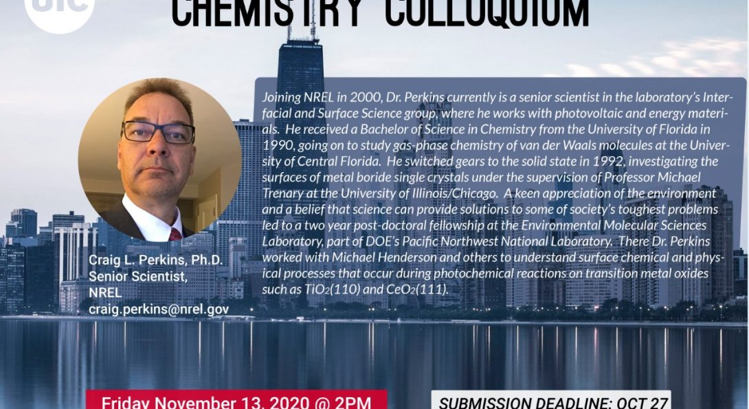 Dr. Perkins will be the keynote speaker at our Chemistry Colloquia on Nov. 13
