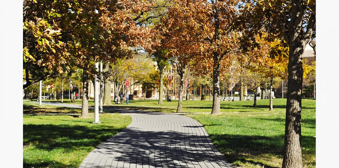 Facing East from the main campus.