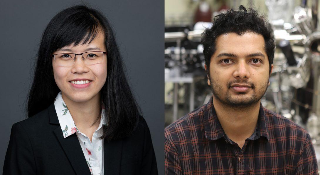 Sayantan Mahapatra and Thu (Mi) Nguyen have won two campus-wide graduate student awards.